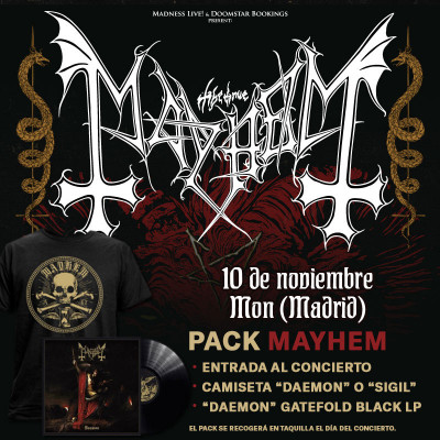"""Pack Mayhem """"Daemon"""" Camiseta + LP (Madrid)"""